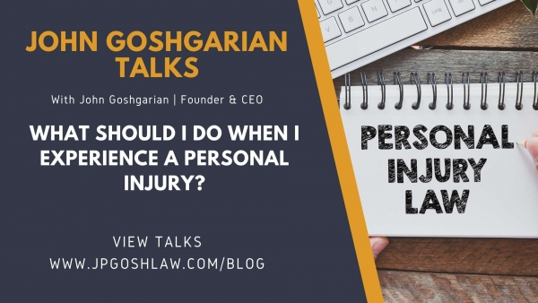 JP Gosh Law Talks for Plantation, FL - What Should I Do When I Experience a Personal Injury?